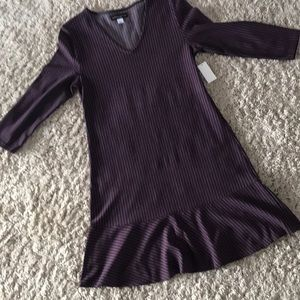Plum purple Gray stripe ruffle hem dress M NWT